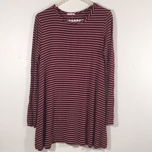Red/White Striped Dress by Pinc Long Sleeves XL